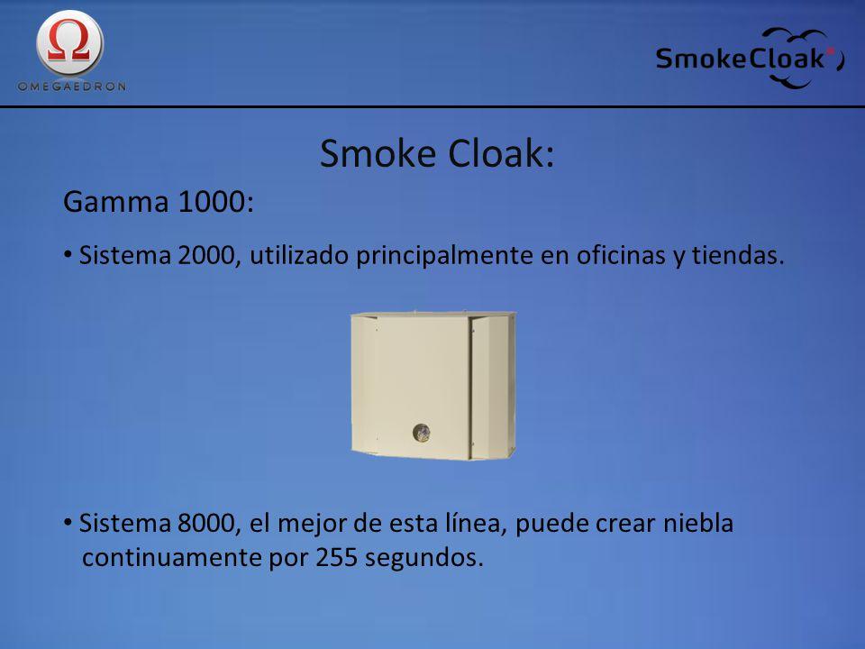 Smoke Cloak: Gamma 1000: Sistema 2000, utilizado principalmente en oficinas y tiendas. Sistema 8000, el mejor de esta línea, puede crear niebla.