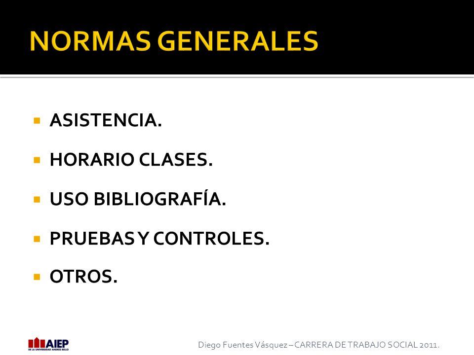 NORMAS GENERALES ASISTENCIA. HORARIO CLASES. USO BIBLIOGRAFÍA.