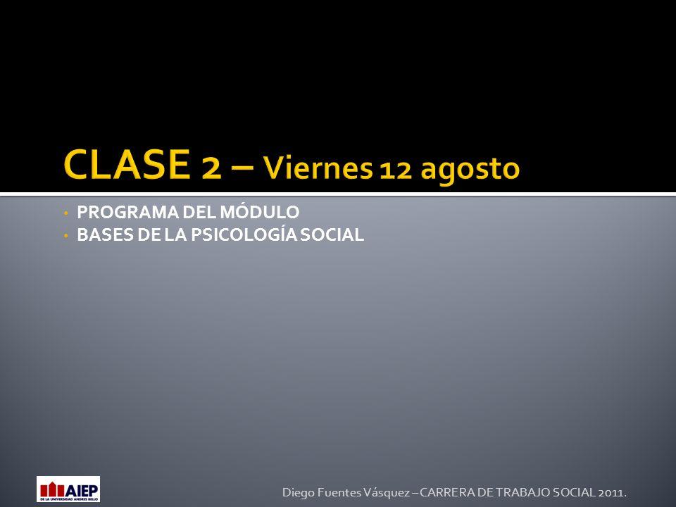 CLASE 2 – Viernes 12 agosto PROGRAMA DEL MÓDULO