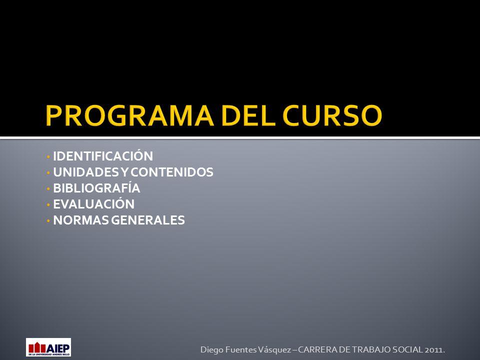 PROGRAMA DEL CURSO IDENTIFICACIÓN UNIDADES Y CONTENIDOS BIBLIOGRAFÍA