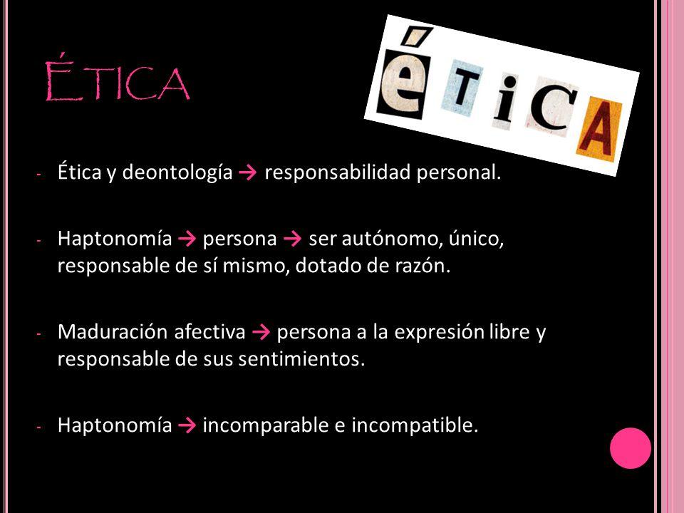 Ética Ética y deontología → responsabilidad personal.