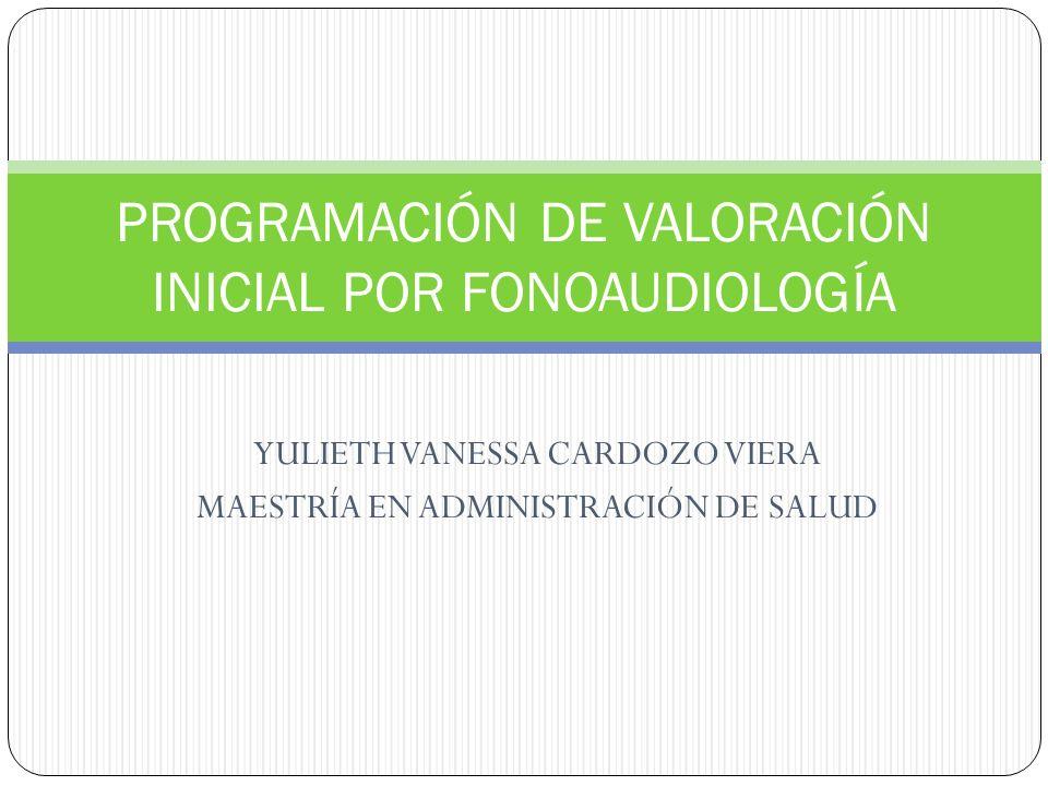PROGRAMACIÓN DE VALORACIÓN INICIAL POR FONOAUDIOLOGÍA