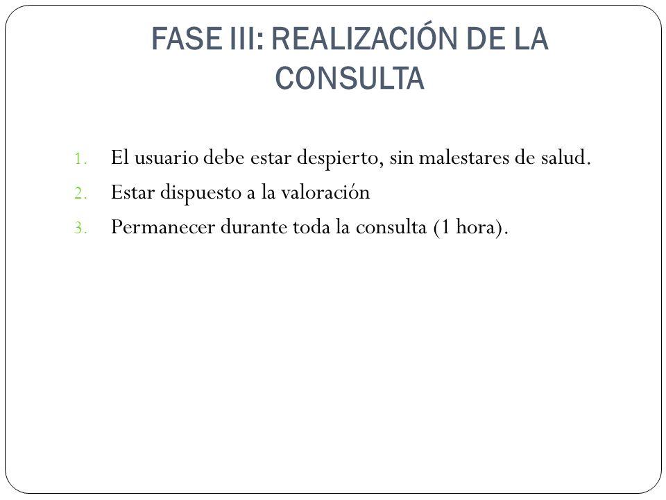 FASE III: REALIZACIÓN DE LA CONSULTA