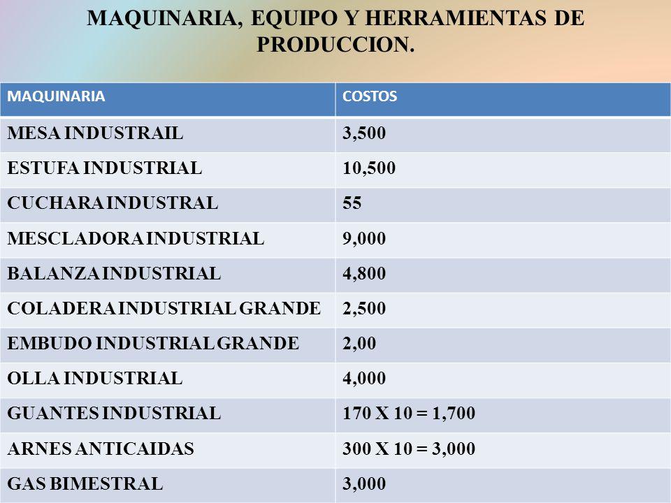 MAQUINARIA, EQUIPO Y HERRAMIENTAS DE PRODUCCION.