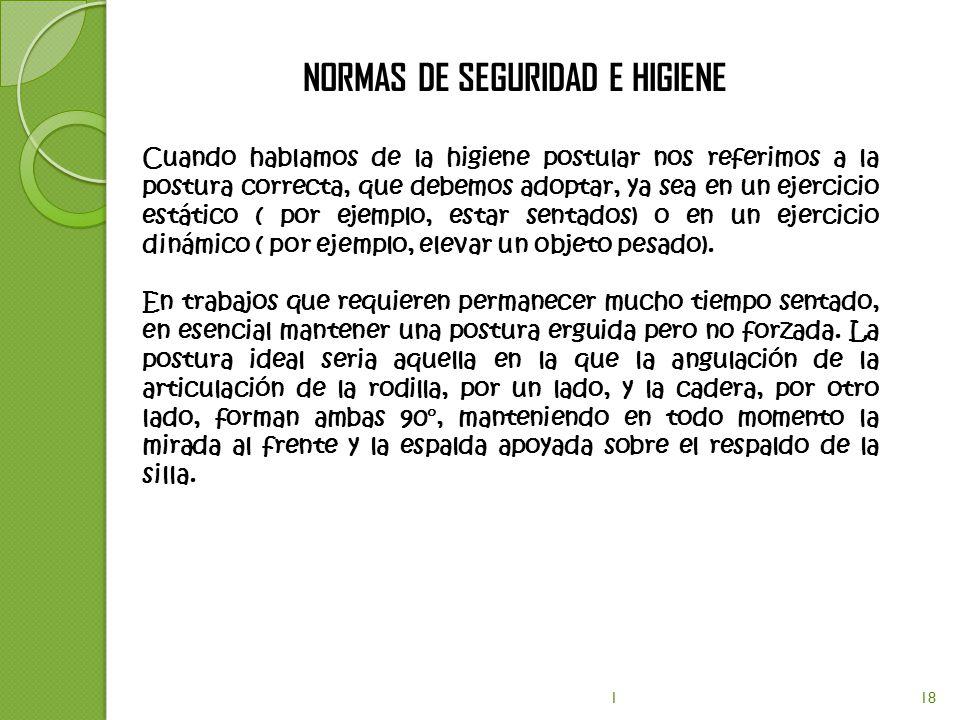 NORMAS DE SEGURIDAD E HIGIENE