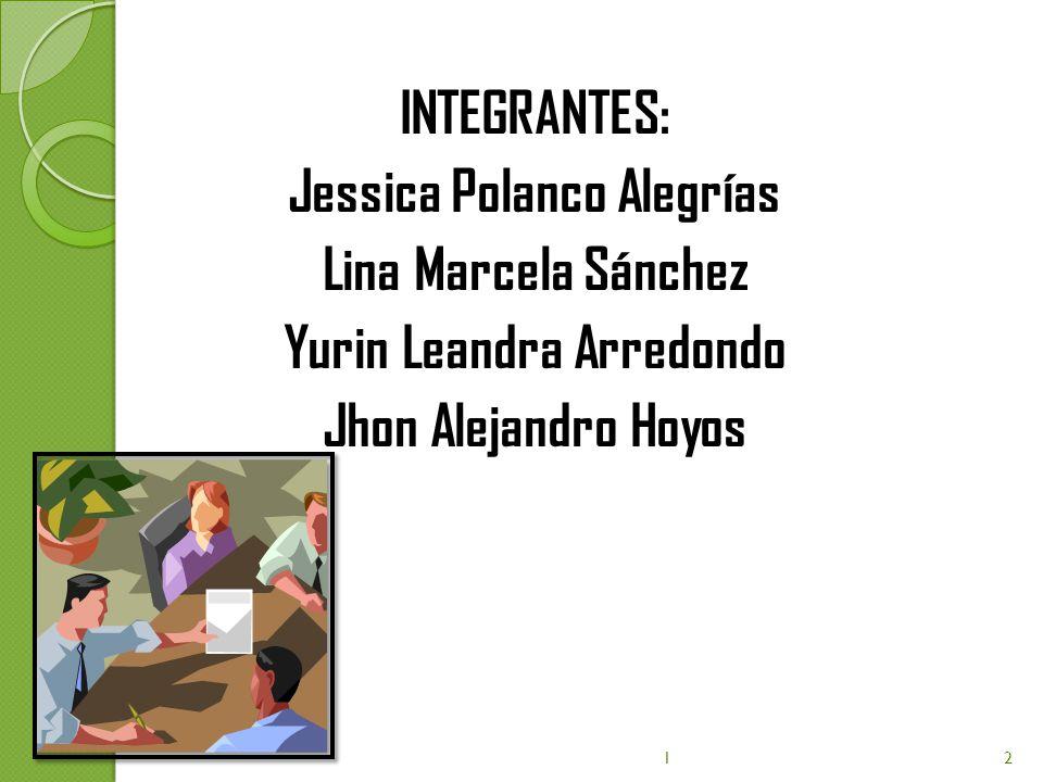 INTEGRANTES: Jessica Polanco Alegrías Lina Marcela Sánchez Yurin Leandra Arredondo Jhon Alejandro Hoyos