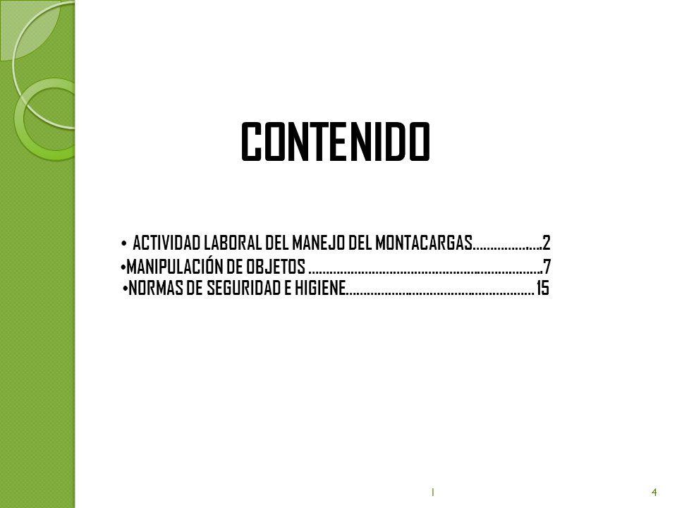 CONTENIDO ACTIVIDAD LABORAL DEL MANEJO DEL MONTACARGAS…………….….2