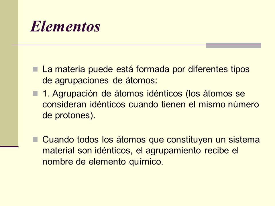 Elementos La materia puede está formada por diferentes tipos de agrupaciones de átomos: