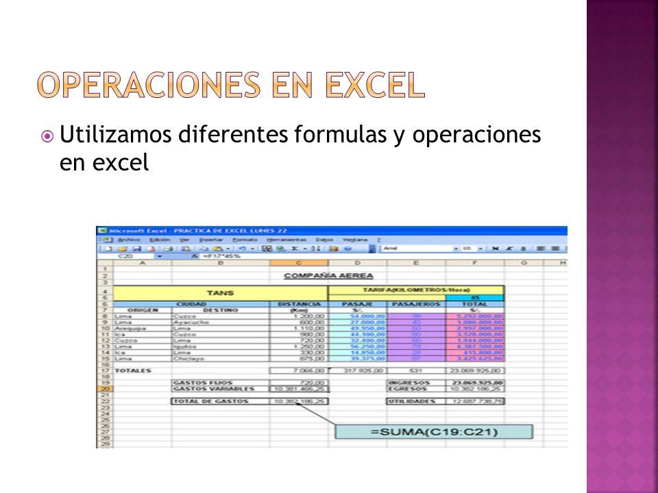 Operaciones en Excel Utilizamos diferentes formulas y operaciones en excel