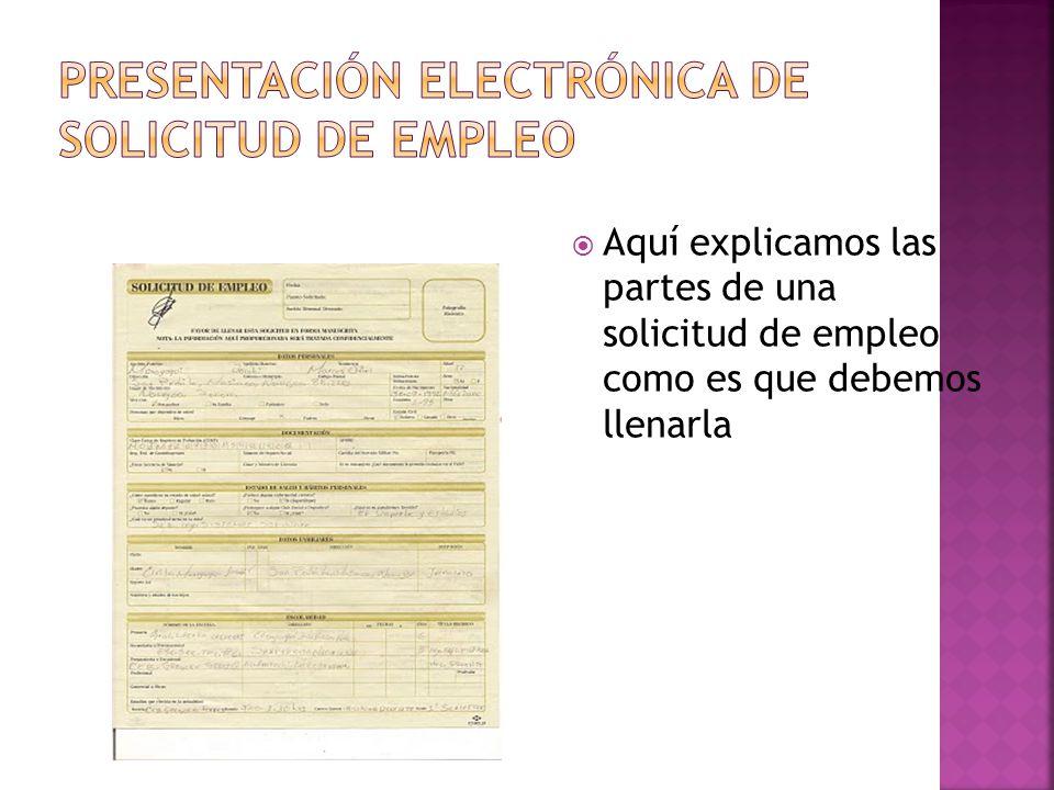 Presentación electrónica de solicitud de empleo
