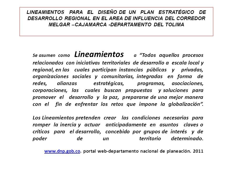 LINEAMIENTOS PARA EL DISEÑO DE UN PLAN ESTRATÉGICO DE DESARROLLO REGIONAL EN EL AREA DE INFLUENCIA DEL CORREDOR MELGAR –CAJAMARCA -DEPARTAMENTO DEL TOLIMA