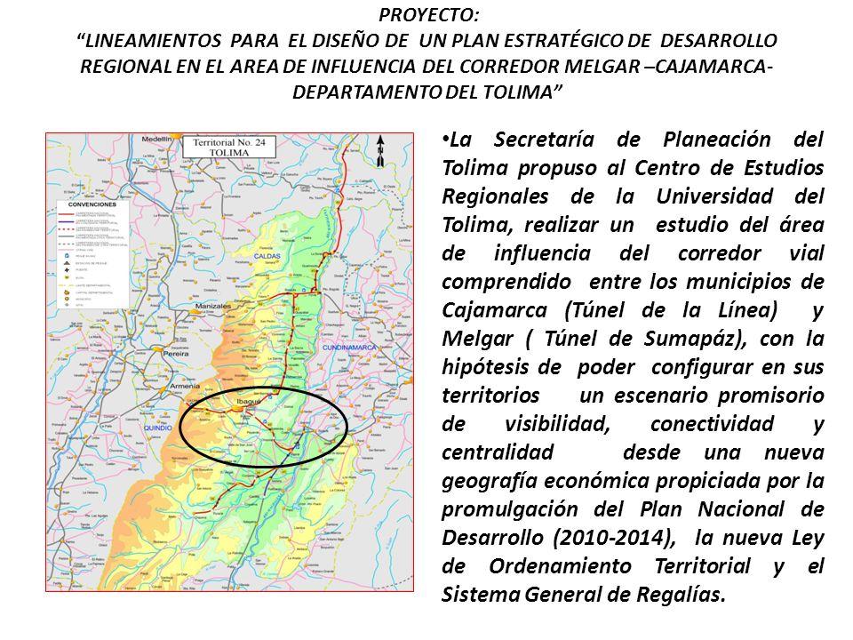 PROYECTO: LINEAMIENTOS PARA EL DISEÑO DE UN PLAN ESTRATÉGICO DE DESARROLLO REGIONAL EN EL AREA DE INFLUENCIA DEL CORREDOR MELGAR –CAJAMARCA-DEPARTAMENTO DEL TOLIMA