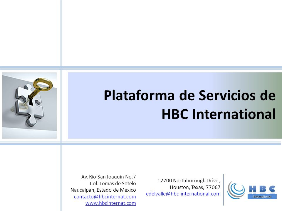 Plataforma de Servicios de HBC International