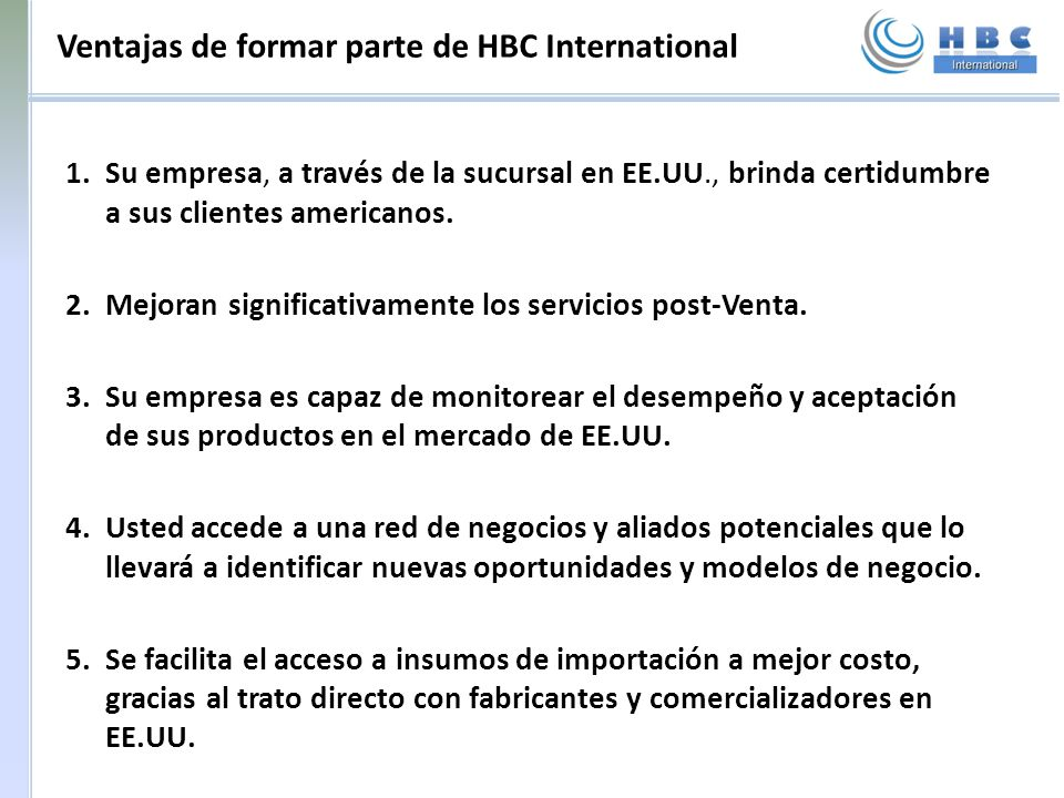 Ventajas de formar parte de HBC International