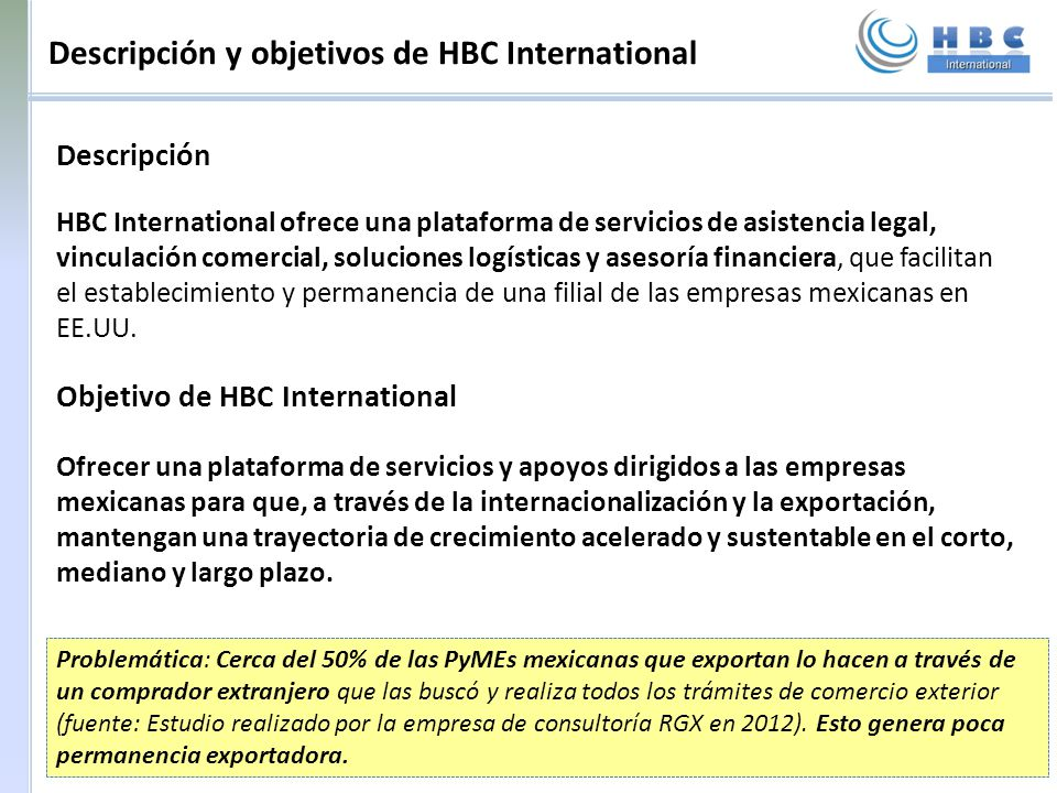 Descripción y objetivos de HBC International