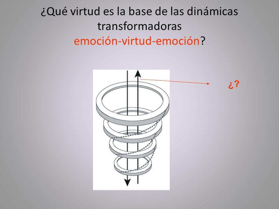 ¿Qué virtud es la base de las dinámicas transformadoras emoción-virtud-emoción