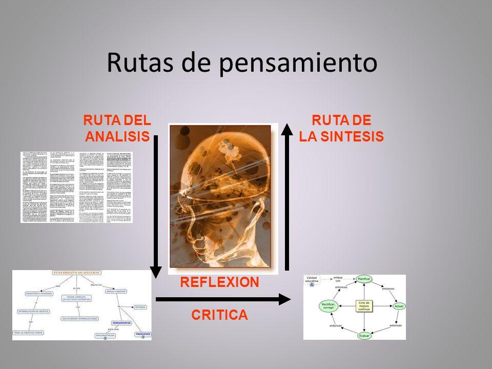 Rutas de pensamiento RUTA DEL ANALISIS RUTA DE LA SINTESIS REFLEXION