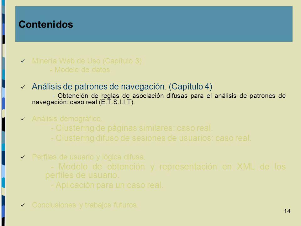 ContenidosMinería Web de Uso (Capítulo 3) - Modelo de datos. Análisis de patrones de navegación. (Capítulo 4)