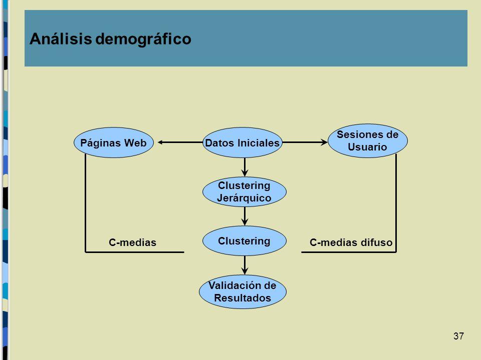 Análisis demográfico Sesiones de Usuario Páginas Web Datos Iniciales
