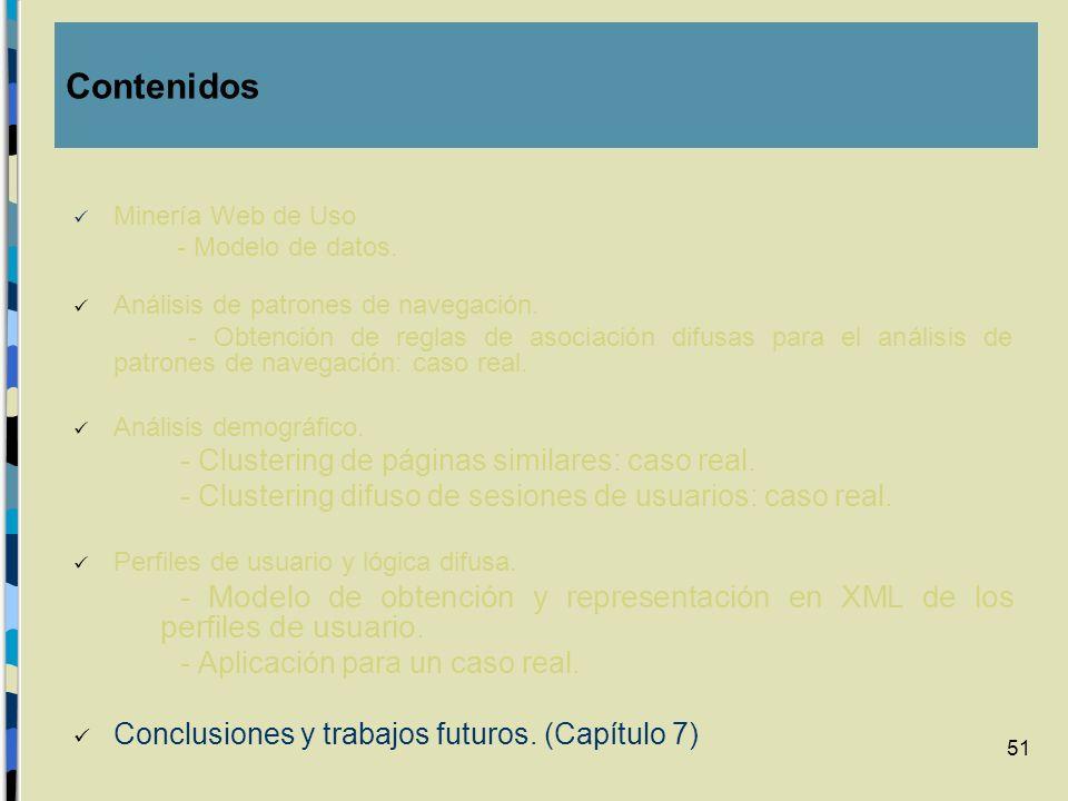 ContenidosMinería Web de Uso. - Modelo de datos. Análisis de patrones de navegación.