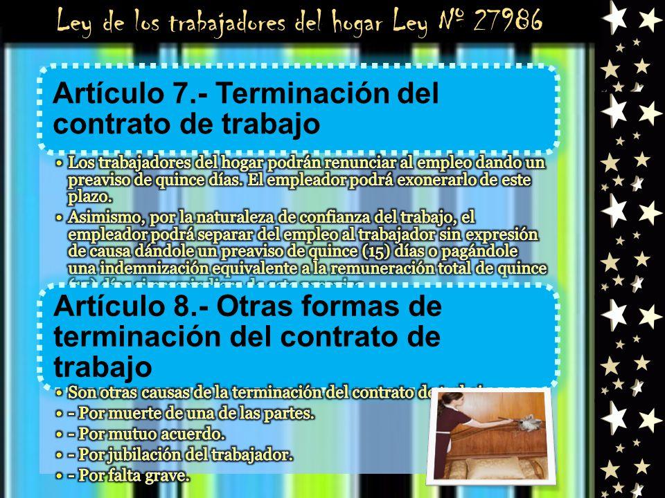 Ley de los trabajadores del hogar Ley Nº 27986