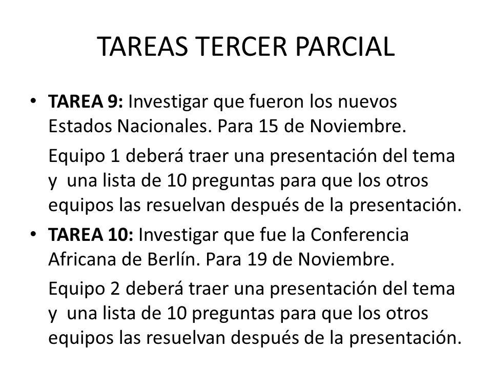 TAREAS TERCER PARCIAL TAREA 9: Investigar que fueron los nuevos Estados Nacionales. Para 15 de Noviembre.
