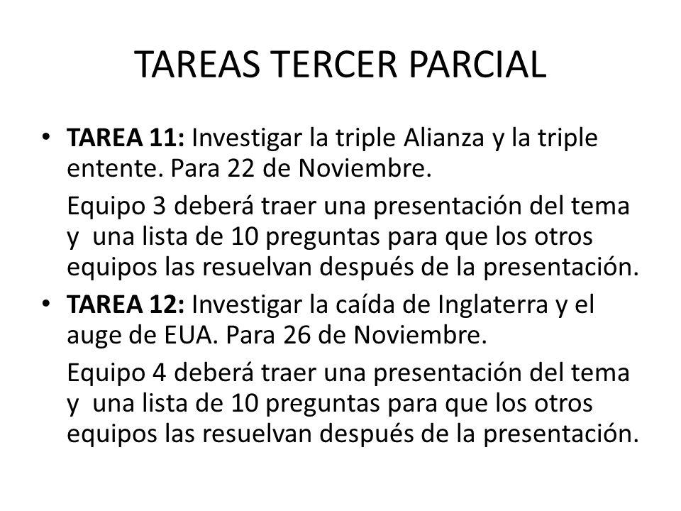 TAREAS TERCER PARCIAL TAREA 11: Investigar la triple Alianza y la triple entente. Para 22 de Noviembre.