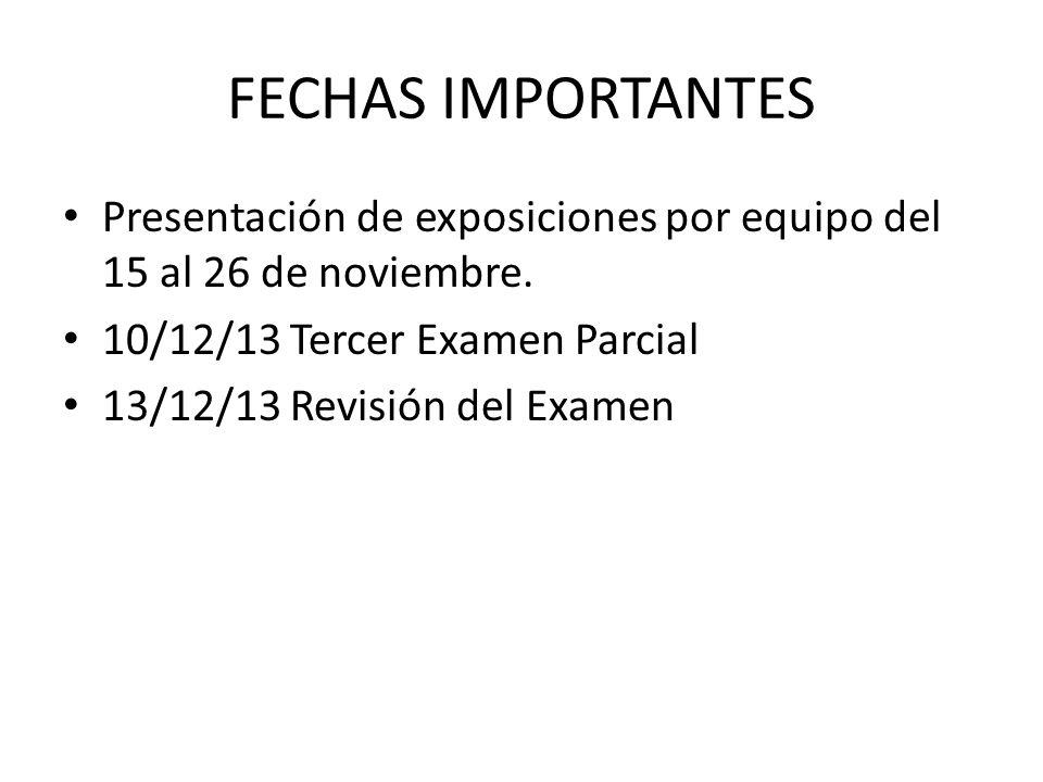FECHAS IMPORTANTES Presentación de exposiciones por equipo del 15 al 26 de noviembre. 10/12/13 Tercer Examen Parcial.