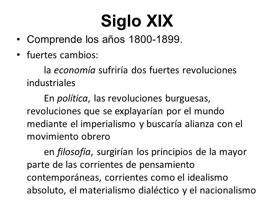 Siglo XIX Comprende los años 1800-1899. fuertes cambios: