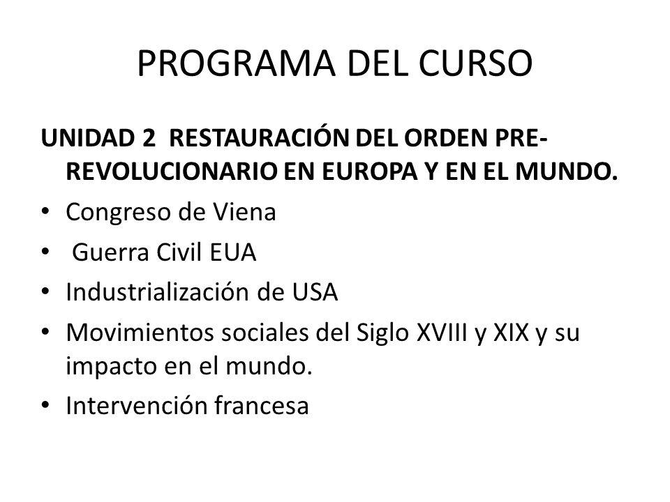 PROGRAMA DEL CURSO UNIDAD 2 RESTAURACIÓN DEL ORDEN PRE-REVOLUCIONARIO EN EUROPA Y EN EL MUNDO. Congreso de Viena.