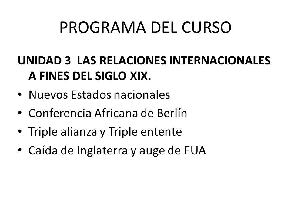 PROGRAMA DEL CURSO UNIDAD 3 LAS RELACIONES INTERNACIONALES A FINES DEL SIGLO XIX. Nuevos Estados nacionales.