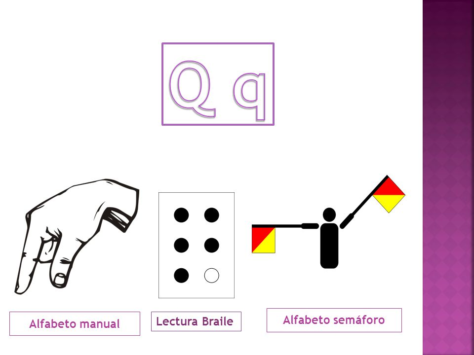 Q q Alfabeto semáforo Alfabeto manual Lectura Braile
