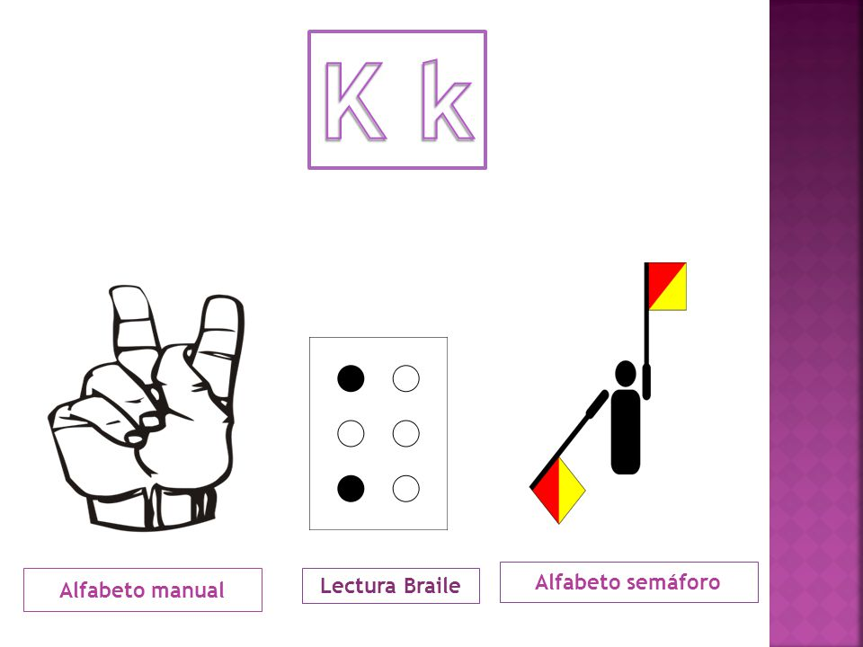 K k Alfabeto semáforo Alfabeto manual Lectura Braile