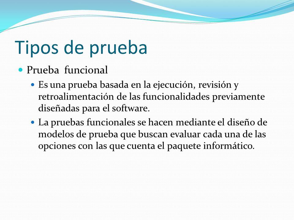 Tipos de prueba Prueba funcional