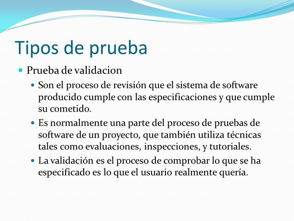 Tipos de prueba Prueba de validacion