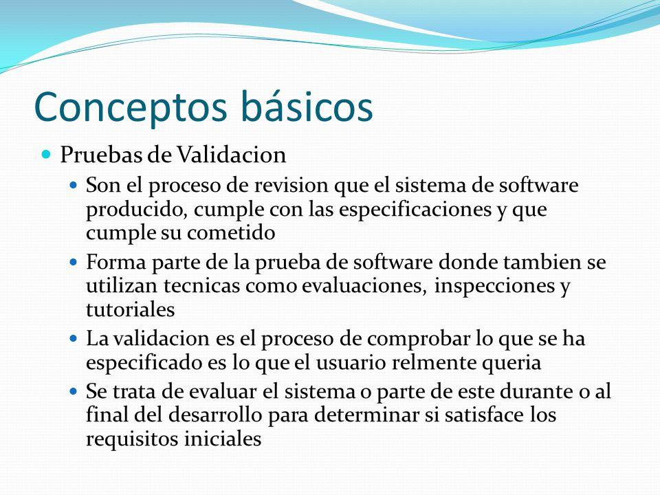Conceptos básicos Pruebas de Validacion