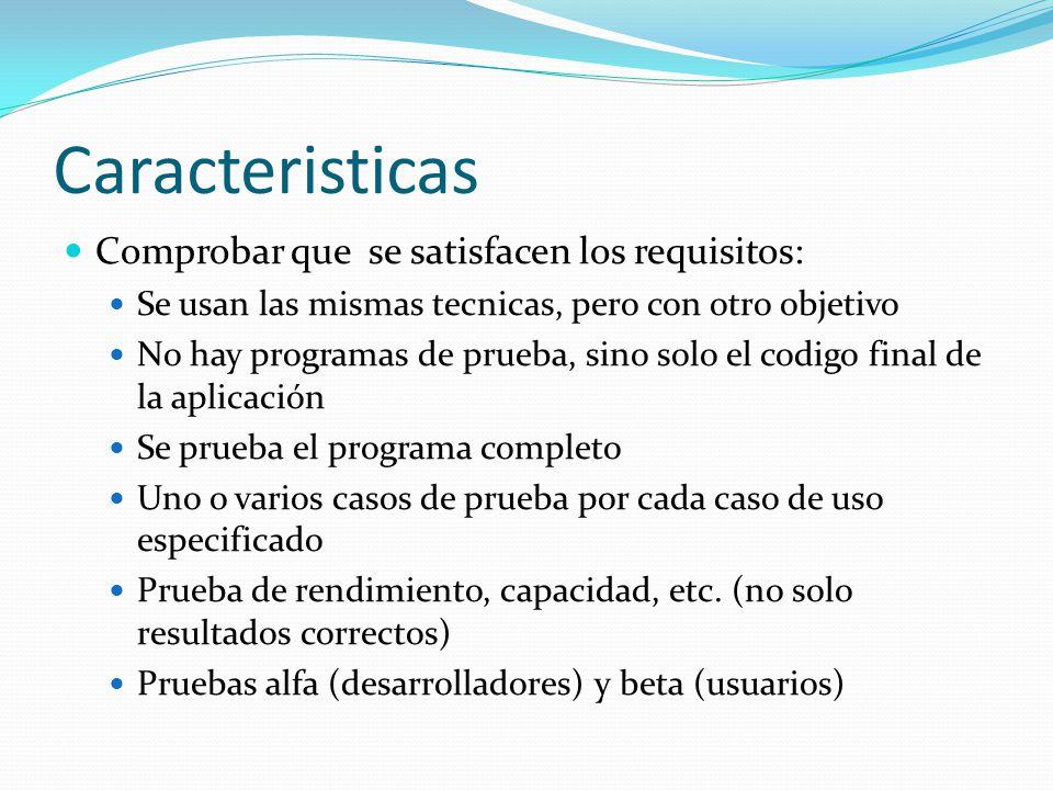Caracteristicas Comprobar que se satisfacen los requisitos: