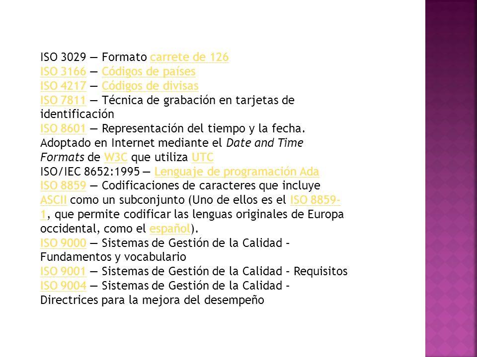 ISO 3029 — Formato carrete de 126