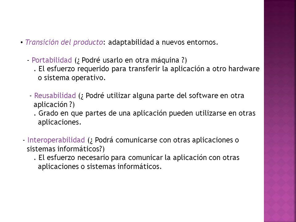 Transición del producto: adaptabilidad a nuevos entornos.