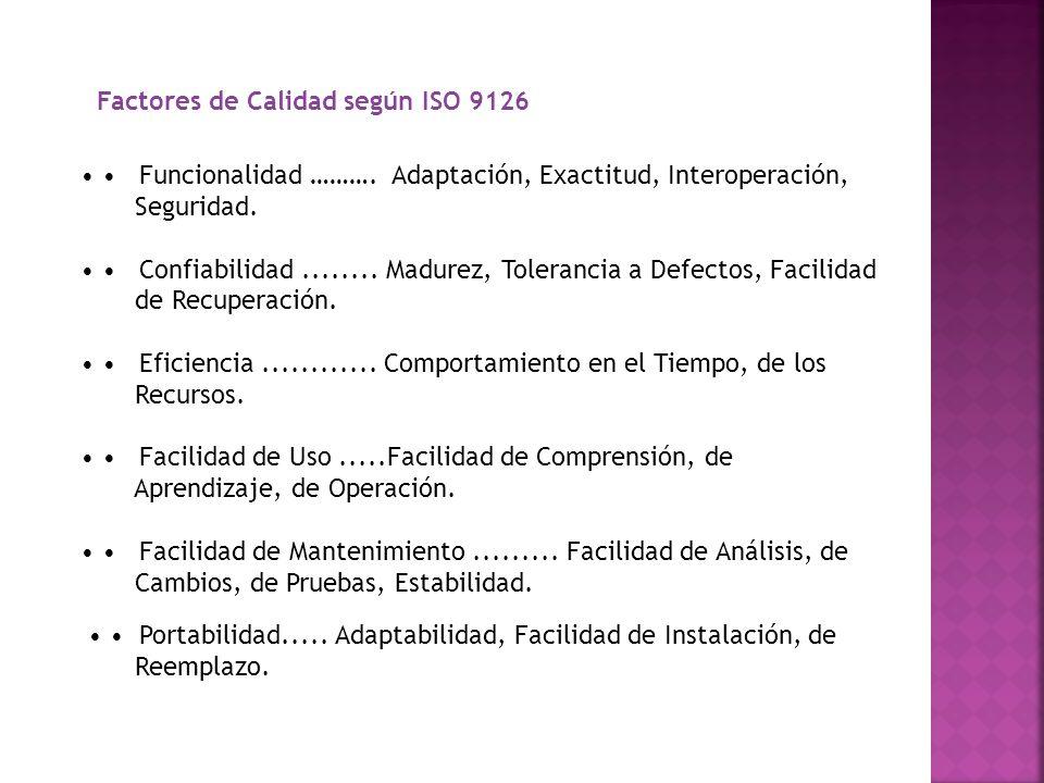 Factores de Calidad según ISO 9126