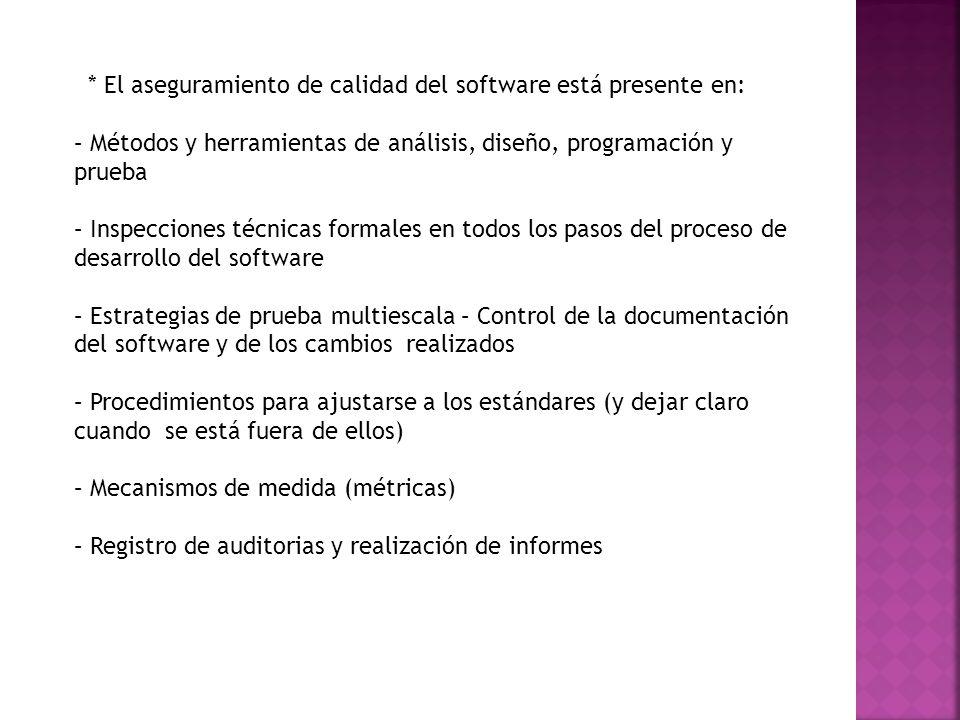 * El aseguramiento de calidad del software está presente en: