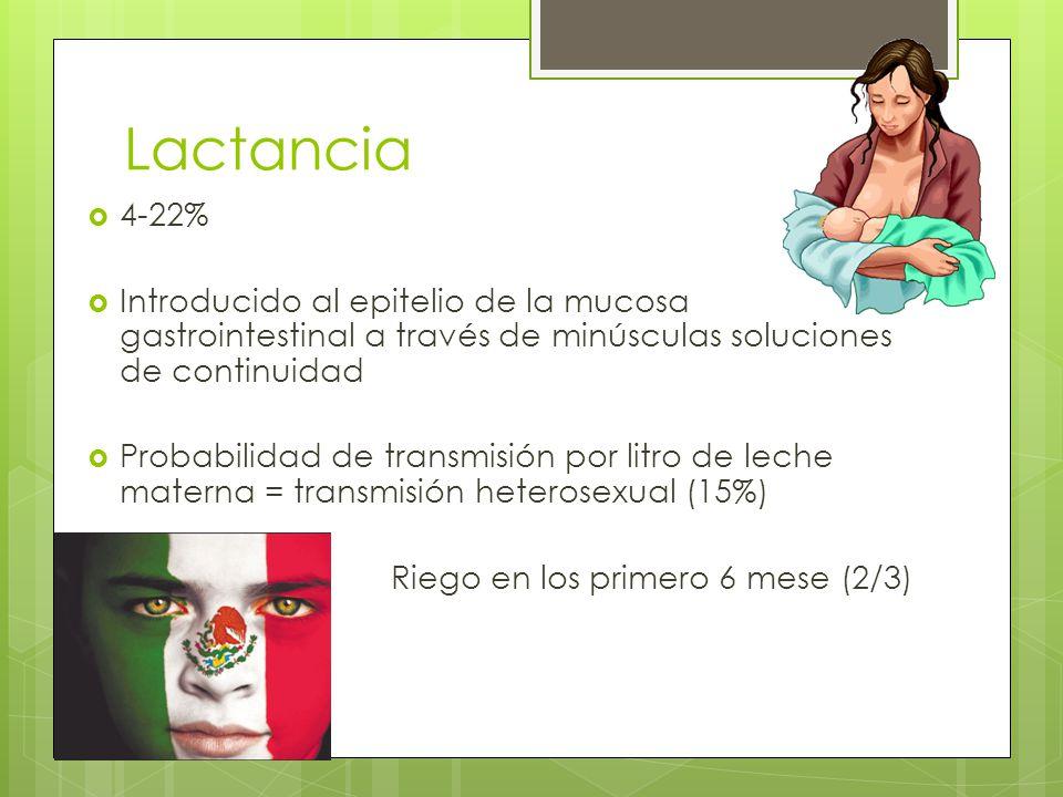Lactancia 4-22% Introducido al epitelio de la mucosa gastrointestinal a través de minúsculas soluciones de continuidad.