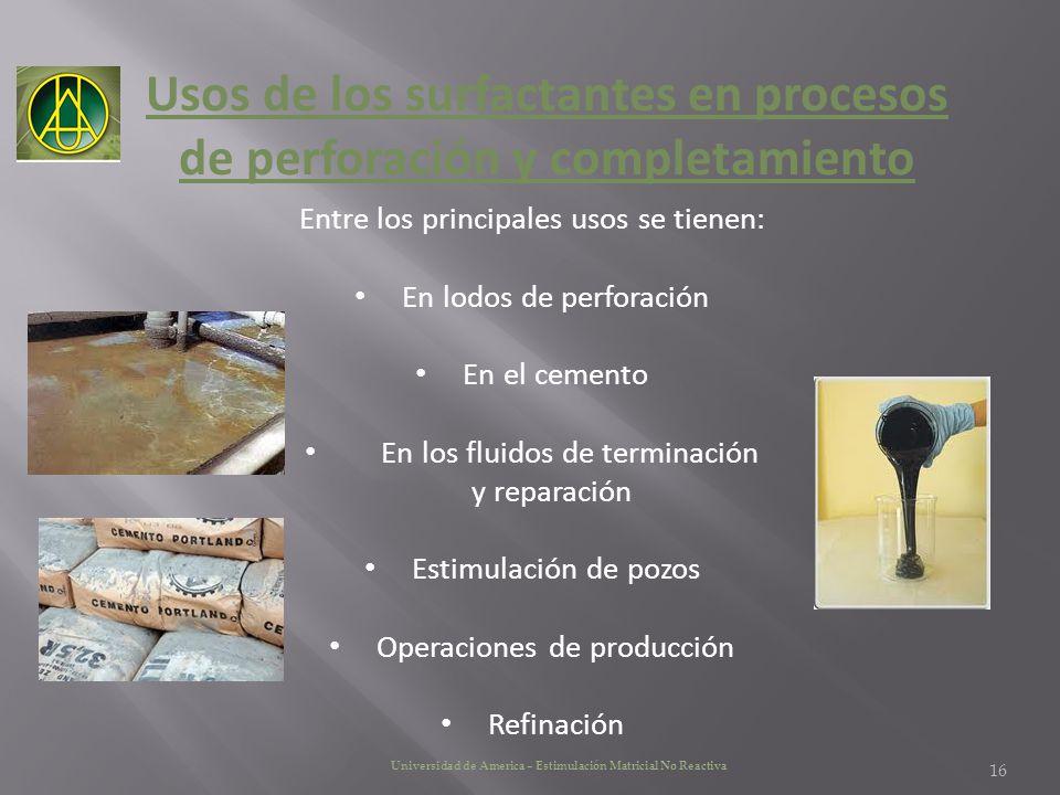 Usos de los surfactantes en procesos de perforación y completamiento