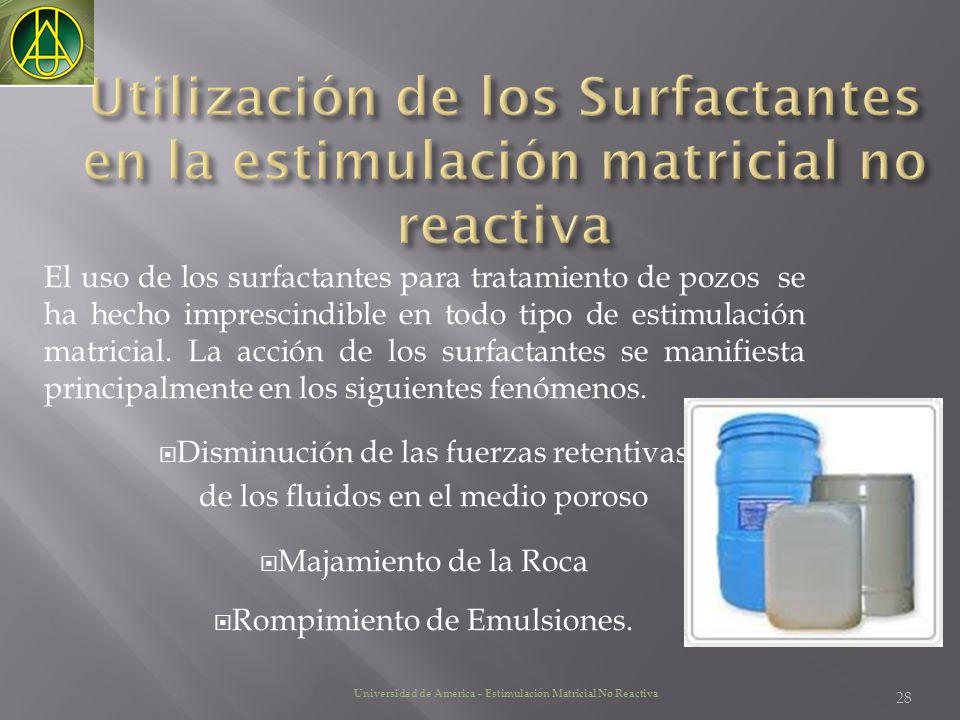 Utilización de los Surfactantes en la estimulación matricial no reactiva