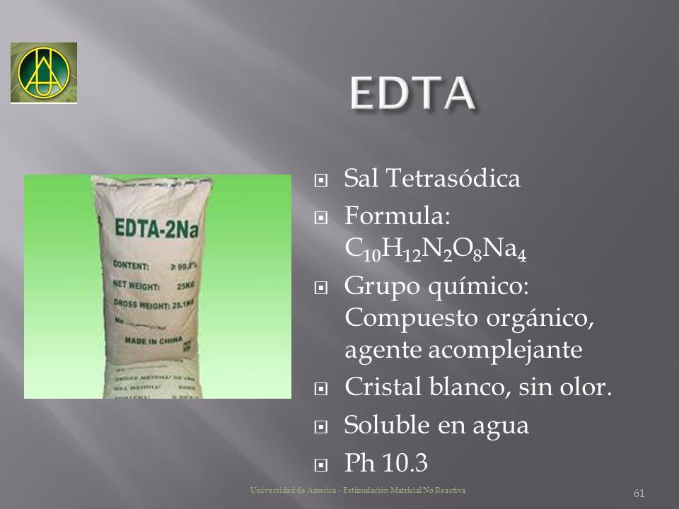 EDTA Sal Tetrasódica Formula: C10H12N2O8Na4