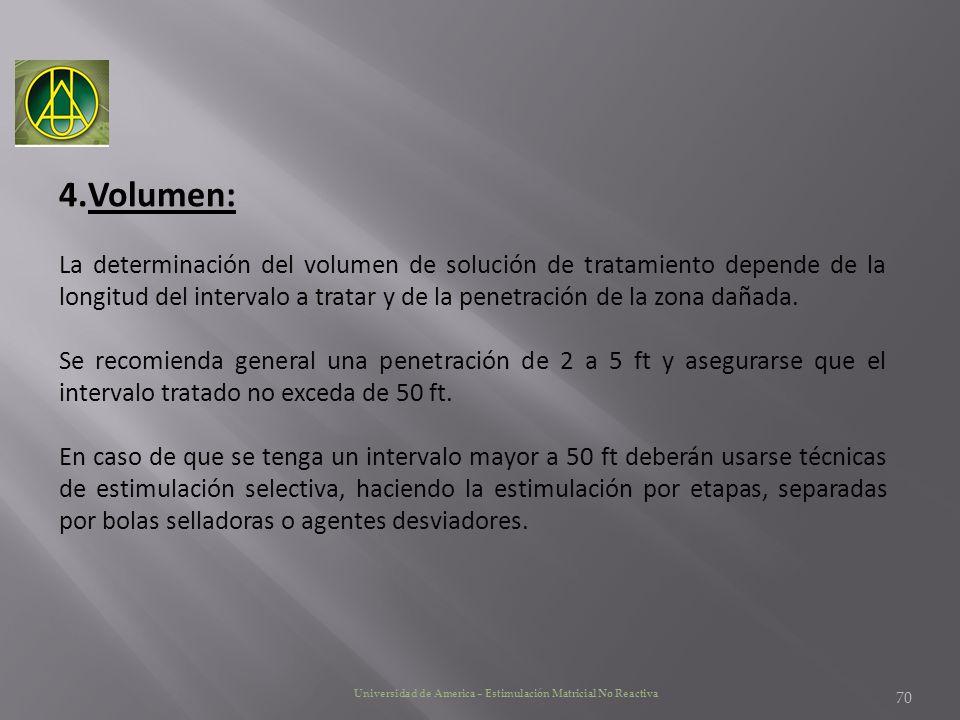 Volumen: La determinación del volumen de solución de tratamiento depende de la longitud del intervalo a tratar y de la penetración de la zona dañada.