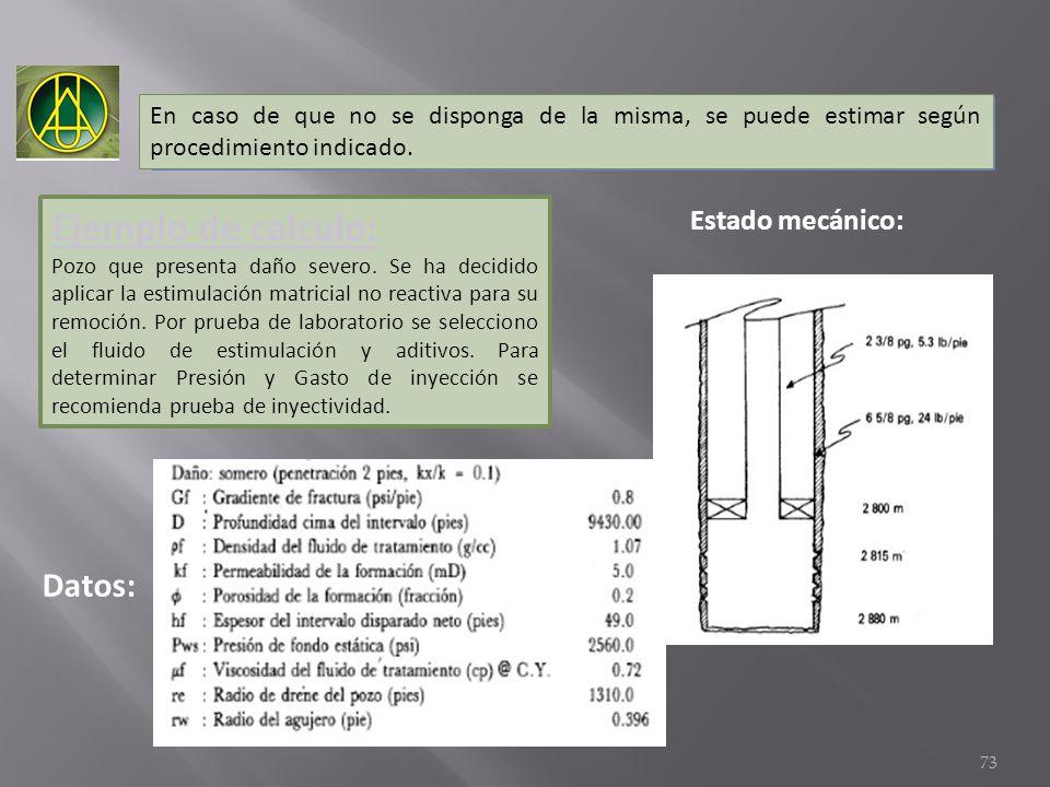 Ejemplo de calculo: Datos: Estado mecánico: