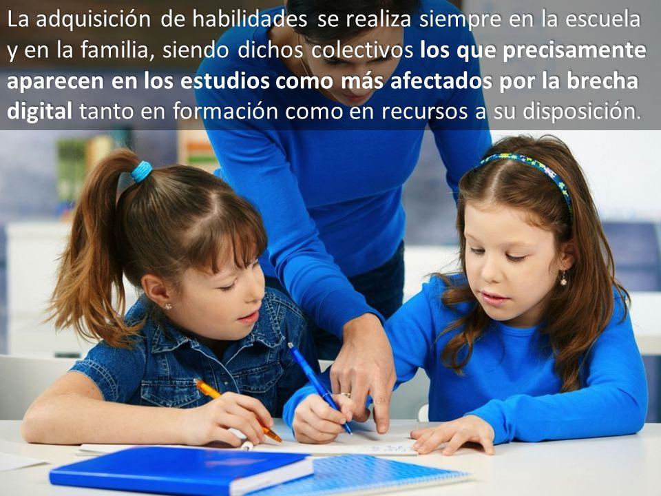 La adquisición de habilidades se realiza siempre en la escuela y en la familia, siendo dichos colectivos los que precisamente aparecen en los estudios como más afectados por la brecha digital tanto en formación como en recursos a su disposición.