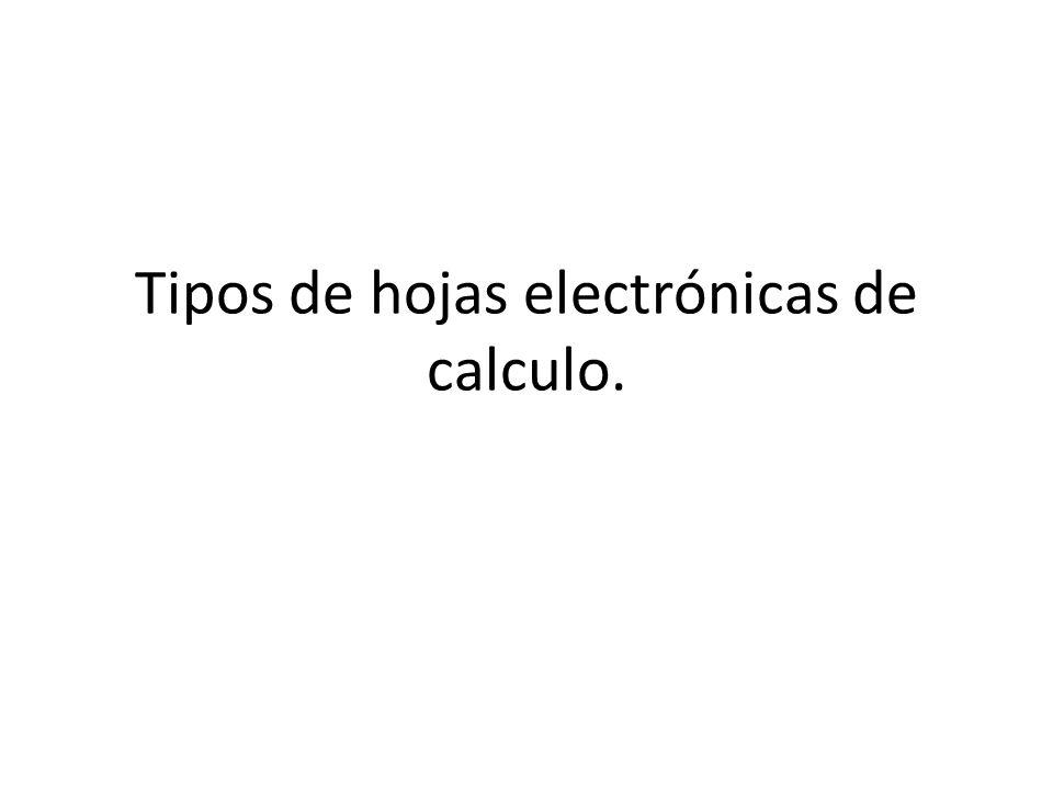 Tipos de hojas electrónicas de calculo.