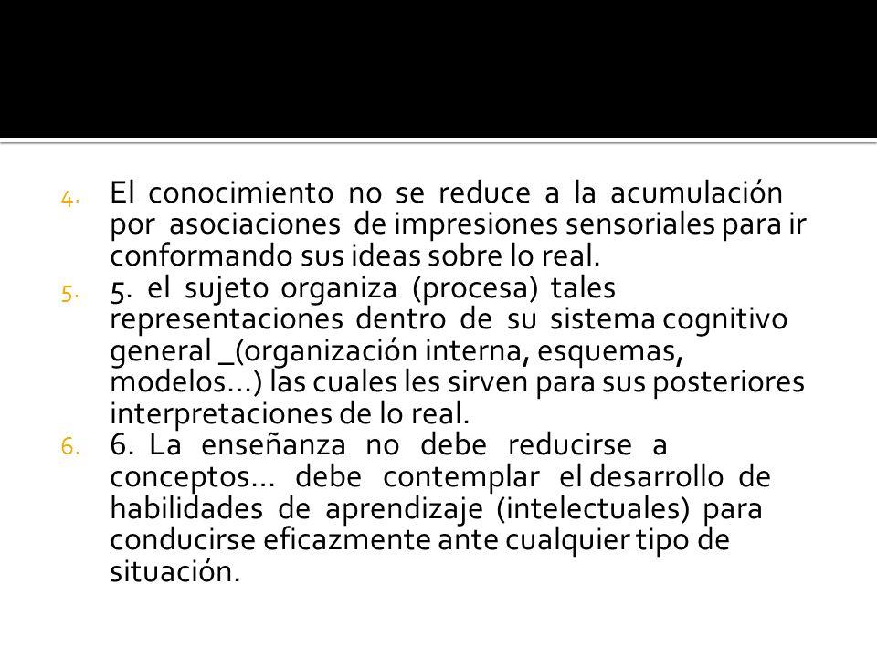 El conocimiento no se reduce a la acumulación por asociaciones de impresiones sensoriales para ir conformando sus ideas sobre lo real.
